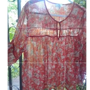 Lucky Brand Red Floral top (xl)
